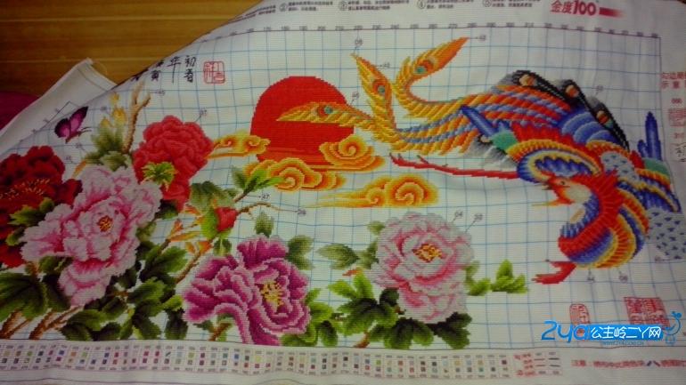 十字绣 凤凰戏牡丹图片